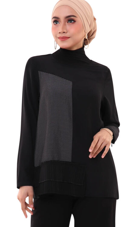 muslimah charmian pleated blouse back 3024