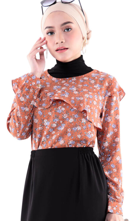 muslimah peretti floral blouse peach front 8516