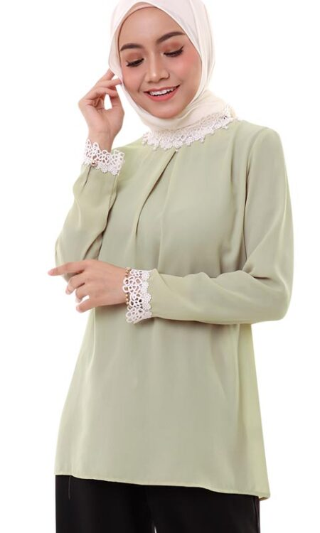 muslimah french lace blouse dusty green front