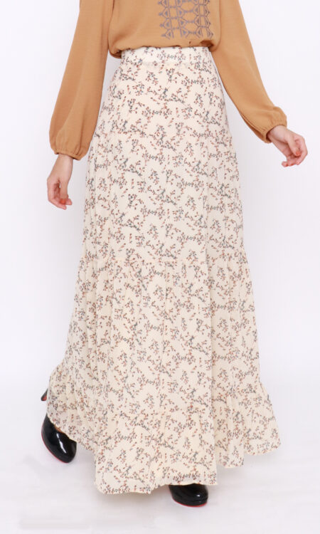 Nia Floral Skirt Off White
