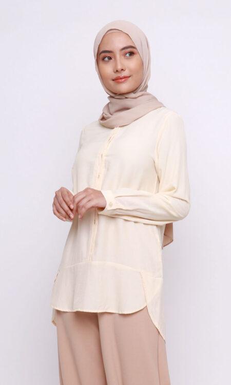 Vera Cotton Top Shirt Light Yellow Jasmina Malaysia