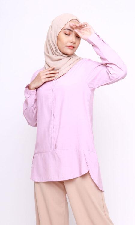 Vera Cotton Top Shirt Lilac New Jasmina Malaysia