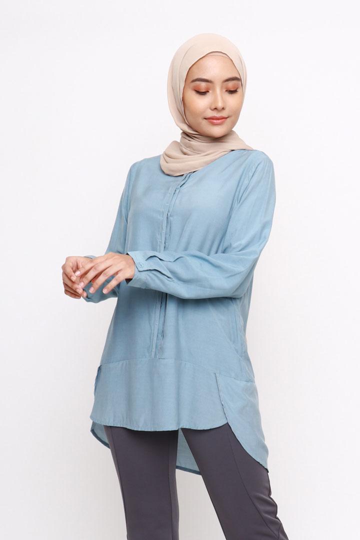 Vera Cotton Top Shirt Steel Blue New Jasmina Malaysia