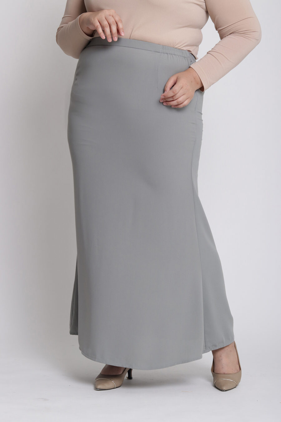 Amora Plus Mermaid Skirt Grey