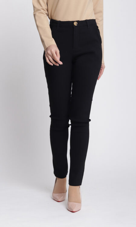 Zeera Skinny Pants Black Cotton Stretchable Trousure Jasmina Malaysia