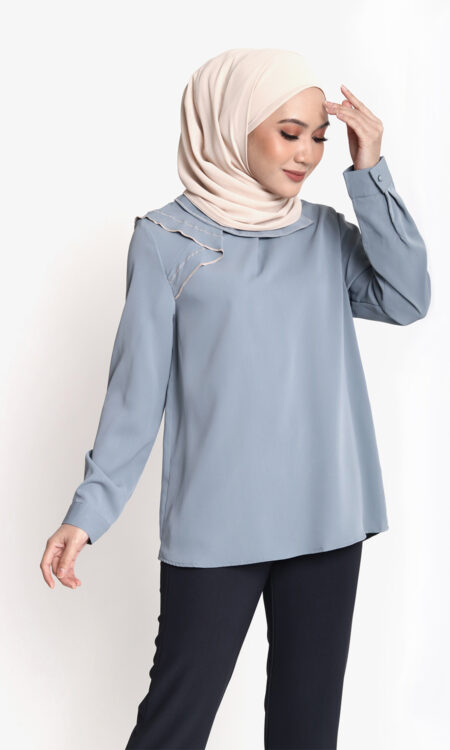 Amy Casual Top Grey Blue